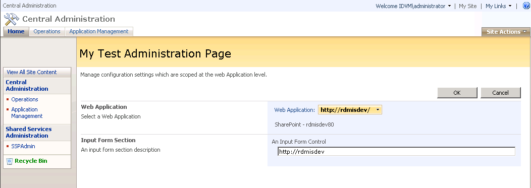 Simple Administration Page