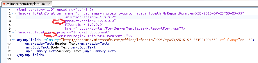 InfoPath Form Metadata