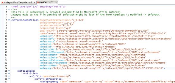 InfoPath Form XSF File