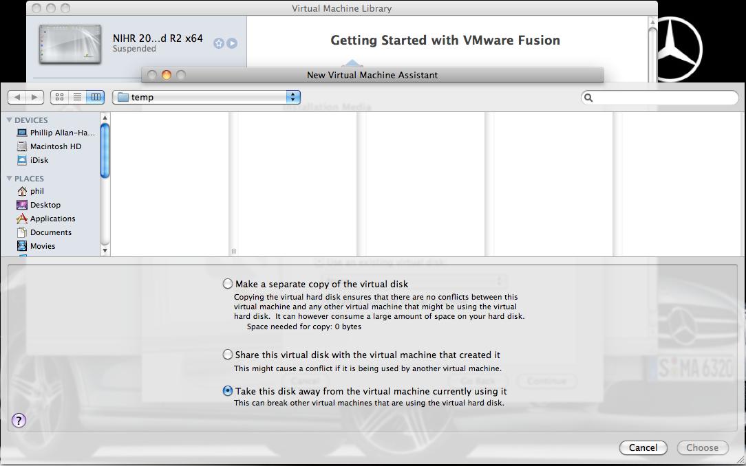 Choose Virtual Disk files