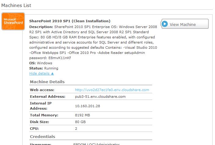 VM Connection Details