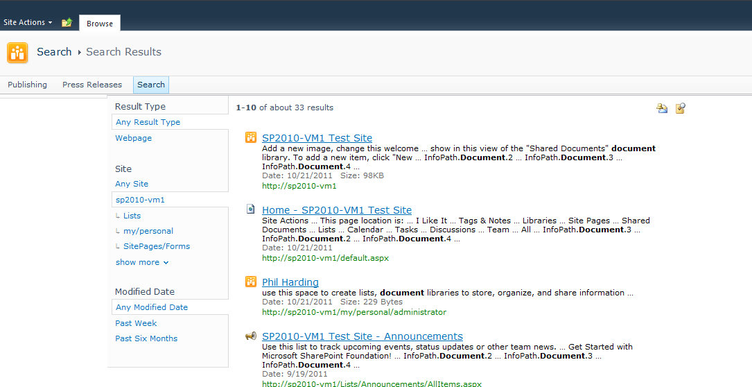 search results page