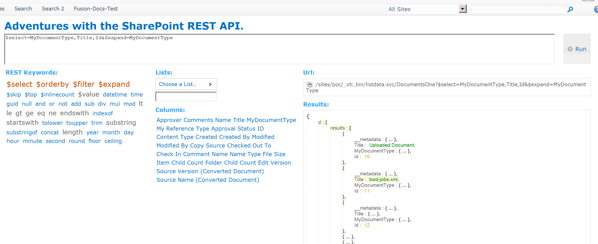 SharePoint: Adventures with the REST API Part 1