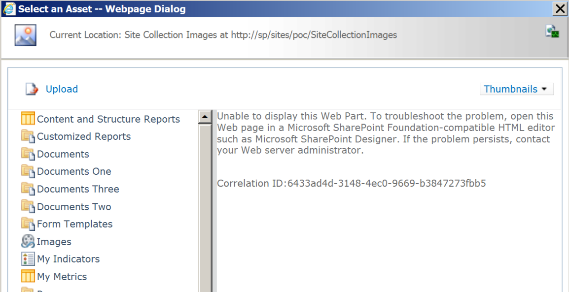 SharePoint 2010 Portal Asset Browser Broken with Windows Update
