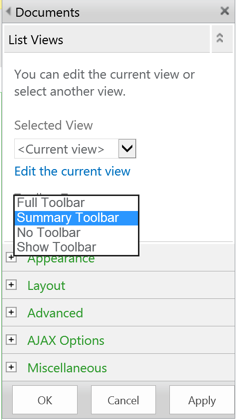 Toolbar Type Options