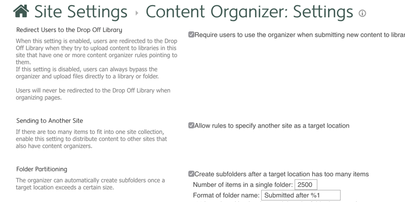 SharePoint Content Organiser PropertyBag Property Settings